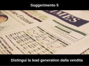 differenza tra lead generation e vendita